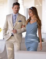 Wholesale Beach Wedding Men Suits - Champagne Men Suits Stylish Grooms Men Beach Wedding Tuxedo Custom Terno Masculino (Jacket+Pants) Men's Prom Party Suits