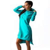 Wholesale Knee Length Hoodie - 2017 Autumn Long Sleeve Hoodie DressO Neck Loose Casual Pencil Dress Above Knee Length Pullover Lady Dresses