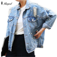 Wholesale Jean Hollow - Wholesale- Pearls Beading Ripped Denim Jacket Women Single Breasted Vintage Autumn Jean Jackets and Coats Plus Size Casual Jaqueta Jeans
