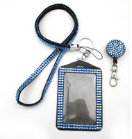 Wholesale Wholesale Bling Retractable Badge Holders - DHL Fedex Free Shipping 100pcs Bling Crystal Rhinestone Lanyard With Retractable Reel For ID Badge Holder Lanyard