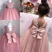 2017 Flower Girl Dresses Vestido de baile Jewel Cap Sleeve Andar Comprimento Girl Restaurantant Dresses Lace Applique Bow Sash For Wedding Girl Party Gown