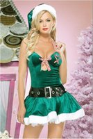 Wholesale sexy christmas lady outfits - Sexy Candy Ladies Green Dress Miss Elf Fancy Dress Outfit Christmas Cosplay Santa Claus Costume Halter Mini Dress
