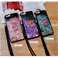 Wholesale Cute Purple Lanyard - for Iphone 5S SE 6 6S 7 8 PLUS Cute Exclusive cat finger ring Rhinestones Heart star liquid glitter case cover lanyard