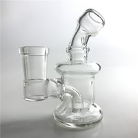 Wholesale Clear Glass Water Pipes - 14mm Female Mini Glass Oil Rigs Bongs Water Pipes with 3.2 Inch Thick Pyrex Recycler Heady Breaker Bong Pipes Clear Oil Rig