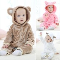 Wholesale Cheap Kids Hats Wholesale - Cheap Pajamas Cute Cartoon Kids Baby Pajamas Brown And Pink Duffy With Hoods Hat Autumn Long Sleeves Bathrobes 1-Piece With High Quality