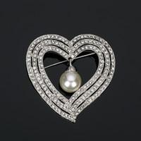 New Fashion pear big Brooch for Women Austrian Rhinestone Brooches Heart shaped Wedding Party Accessories BR007