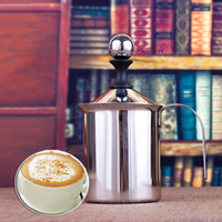 Wholesale Fine Coffee - Stainless Steel Milk Frothers Handheld Frothing Pitchers Fine Double Mesh Manual Operated Foam Maker, Hand Pump Milk Foamer For Cappuccions