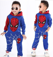 Wholesale zebra winter coat - Boys Autumn tracksuit Spiderman 2pcs set suits children's clothing set roupas infantis menino kids boys coat + pants suits