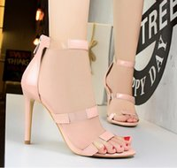 Wholesale Silver Strappy Wedding High Heels - Fashion gladiator sandals women high heels PVC patchwork strappy prom shoes 8 colors size 34 to 39