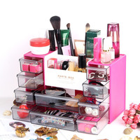 Wholesale Plastic Desk Organizers - Desk Organizer With 10 Drawers Plastic Cosmetic Storage Box Lattice Cabinets Jewelry Brush Lipstick Nail Polish Sorting Grid Container