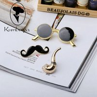 Wholesale Enamel Mustache - Wholesale- Newest Sale Items European Style Men Brooches Glasses Mustache Master Pipe Sets Jewelry Gifts Nail Pin Brooch Black Enamel Br888