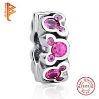 Wholesale Sterling Spacer Beads - BELAWANG Wholesale 925 Sterling Silver Crystal Charms Pink Spacer Charm Beads Fit Pandora Charm Bracelets&Bangles DIY Jewelry Making