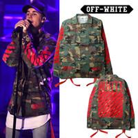 Wholesale Mens Fashion Ski Jacket - Hot mens Justin Bieber camouflage OFF WHITE Ski-wear Camo stripe offset print epaulets painting jacket VIRGIL ABLOH