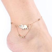 ingrosso donne cristalline a sandali scalzi-Catenina a forma di bracciale di cristallo con design a forma di elefante - Cavigliera da caviglia a caviglia con cinturino alla caviglia
