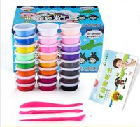 Wholesale Big Plastic Paper - 24 Colors  set Plastic clay Colorful Silly Putty Plasticine Super Light Clay Educational Game Toys Soft Play Dough Kids Toy Paper Box packag