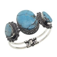 "Wholesale Origins Women - Vintage Silver Charm Antique Origin Natural Copper Hermosa Jewelry Turquoise Women Bangle Bracelets Nice Jewelry 6.5""inch A7"