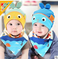 Wholesale Cheap Children Scarfs - New Fashion Cat head baby fetal sleeping cap cotton thread knitted children 's baby Triangular scarf hat Sets Lovely Kids hot sale cheap