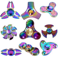 Wholesale Rainbow Three Leaves Hand Spinner Crabs Leg Style Gyro Cyclone Fidget Spinner EDC aluminium alloy HandSpinner Decompression Anxiety OTH395