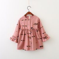 Wholesale Elephant Pink Party - Everweekend Girls Elephant Printed Ruffles Autumn Dress Vintage Korea Western Fashion Clothing Cute Baby Princess Party Dress