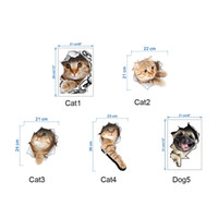 Wholesale Poster New - 3D Cats Wall Sticker Toilet Stickers Hole View Vivid Dogs Bathroom Room Decoration Animal Vinyl Decals Art Sticker Wall Poster 0706026
