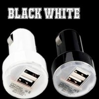 araba usb şarj cihazı siyah 1a toptan satış-Beyaz Siyah Mini Mikro Oto Evrensel Çift USB Portu Araç Şarj 2.1A + 1A Şarj iphone 5 6 7 samsung gps mp3 pc için