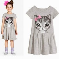 Wholesale Girls Dot Butterfly Knot - 2017 Lovely Baby Girls Butterfly Knot Cat Dress Kids Summer Short Sleeves Printed Princess Dresses Baby Clothes Cotton Skirt Free Shipping