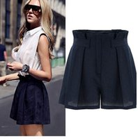Wholesale New Women Casual Linen Wide leg Shots Fashion All match Lady Hot Pants Slim High Waist Shorts
