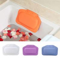 Wholesale bath pillows resale online - Bathtub Waterproof Spa Soft Bath Pillow Headrest With Suction Cup Tub Pillow Bathroom Products Colors x31cm
