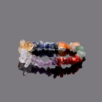 Wholesale Natural Stone Silver Charm Rings - Multicolor 7 chakra Natural Stones Chips Bracelets Amethyst Lapis Lazuli Healing Crystal Stretchy Bracelet for Men Women