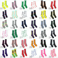 Wholesale Maples Leaves - 38colors Crew Socks Skateboard hiphop socks Leaf Maple Leaves Stockings Cotton Unisex Plantlife leaves Socks 100% Brand New christmas sox