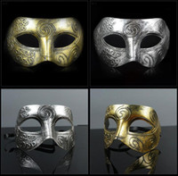 Wholesale Masquerade Masks Wedding Favors - (500 pieces lot) New retro plastic Roman knight mask Men and women's masquerade ball masks Party favors Dress up
