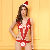Wholesale Adult Baby Lingerie - Adult Christmas Teddies Lingerie Women Sexy Lingerie Hollow Out Baby Dolls Woman Sexy Teddy Bodysuit Thong