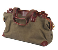 Wholesale Retro Luggage - Canvas bag Europe and America retro travel single shoulder crossbody handbag large capacity with leather luggage bag