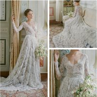 Wholesale Alabaster Wedding Gowns - Alabaster French Lace Illusion Long Sleeve Bridal Gowns 2017 V-neckl Sheer Back Illusion Bodice Wedding Dresses Court Train