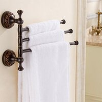 Wholesale Folding Towels - New Style Antique Copper Bathroom Towel Rack Holder 3 Layer Wall Mounted Rotatable Clothes Shelf Towel Bar Wall Mounted Rotatable