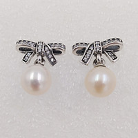 Wholesale studs for sale resale online - Delicate Sentiments With White Pearl Clear Cz Made of Sterling Silver Fit European Pandora Style ALE Stud Jewellery for Women Hot Sale