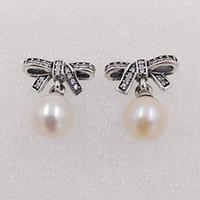 mücevherat yapmak toptan satış-Kadınlar Sıcak Satılık 925 Gümüş Fit Avrupa Pandora Tarzı ALE Stud Mücevherat Beyaz İnci Şeffaf Taşlı Malı ile Narin Görüş