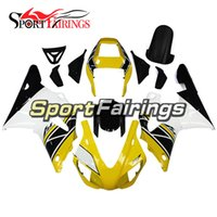 Wholesale 98 R1 Fairings White Black - Complete Fairings For Yamaha YZF 1000 R1 98 - 99 1998 1999 YZF-R1 1998 1999 ABS Motorcycle Fairing Kit Bodywork Yellow White Black Hulls