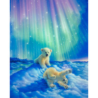 Wholesale New Polar Bear - Northern Lights Polar bear DIY Diamond Painting Embroidery 5D Cross Stitch Crystal Square Home Bedroom Wall Art Decoration Decor Craft Gift