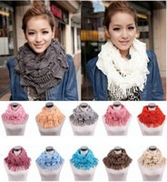 Wholesale Womens Scarf Gloves Set - Womens Winter Warm Knitted Layered Fringe Tassel Neck Circle Shawl Snood Scarf Cowl Girl Solid Long Soft Infinity Scarves Wraps