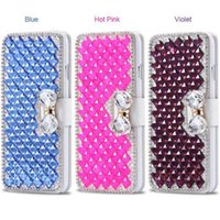 Luxo PU Leather Bling Bowknot Crystal Diamond Wallet Flip Case Cover para iPhone X 8G 7 plus 6S PLUS 5S Samsung S8 PLUS