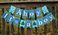 Wholesale Boy Baby Shower Set - Anchor Sailor Themed Ahoy It Is A Boy Banner Baby Shower Party Decoration 1 set lot Free Shipping