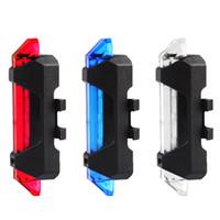 ingrosso luci di segnalazione biciclette-All'ingrosso- Vendita calda 5 LED Notte Mountain Bicicletta Ciclomotore Luce USB Ricaricabile Luce rossa avvertimento Bike Posteriore di sicurezza # 88373