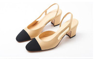 Wholesale European American Heels Shoes - 2017 European American style new summer women sandals fight color square head genuine leather shoes high heels women shoes fashion sandals