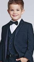Wholesale Kids Suit Models - Three Piece Kids Wedding Suits New Arrival Peaked Lapel Custom Made Boys Formal Wear (Jacket + Pants + Vest)
