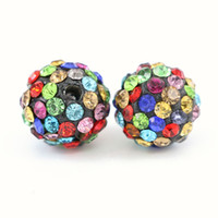 Wholesale Disco Ball Pave Crystal - Clay Pave Disco Ball for Rhinestone Crystal Shamballa Beads Charms Jewelry Makings Half Drilled 5 Rows Rhinestone 100pcs bag