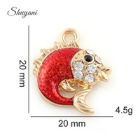 Wholesale Antique Fish Plates - Antique Red Fish Charms Pendants for DIY Charm Bracelets Jewelry Findings Accessories Making Craft 20*20mm Silver Gold Plated