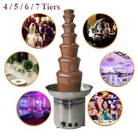 Wholesale Electric Chocolate Fondue Fountain - Fashion Commercial 4 5 6 7 Tiers Electric Chocolate Fountain Fondue Maker Adjustable Luxury Stainless Steel for Wedding Party Hotel