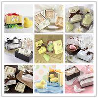 jabón perfumado para bebés al por mayor-Jabón hecho a mano 20pcs / lot para el jabón perfumado de la boda mini jabón de la ducha de bebé con el paquete del regalo envío libre