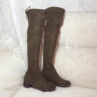 botas marrones para el invierno al por mayor-Buena calidad Nuevas mujeres de moda 100% cuero genuino sobre las botas de la rodilla Botas de invierno cálido 4.5cm Gris marrón botas Tamaño 35 a 40.